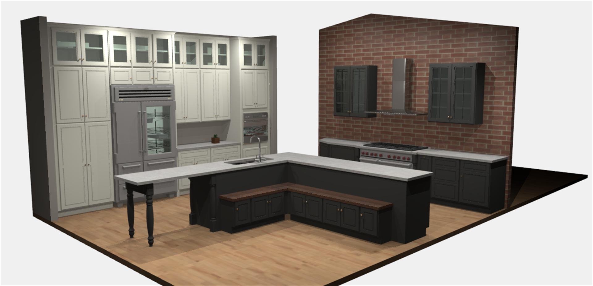 Phyllis Brick Wall Kitchen Renders